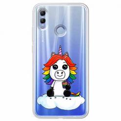 Etui na Huawei Honor 10 Lite - Tęczowy jednorożec na chmurce.