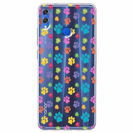 Etui na Huawei Honor 8X - Kolorowe psie łapki.