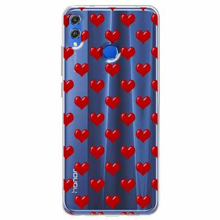 Etui na Huawei Honor 8X - Czerwone serduszka.