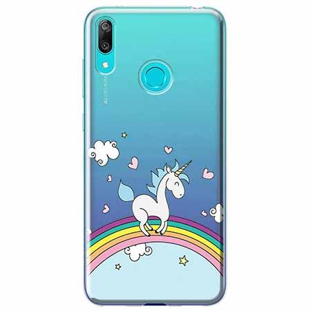 Etui na Huawei P Smart 2019 - Jednorożec na tęczy.