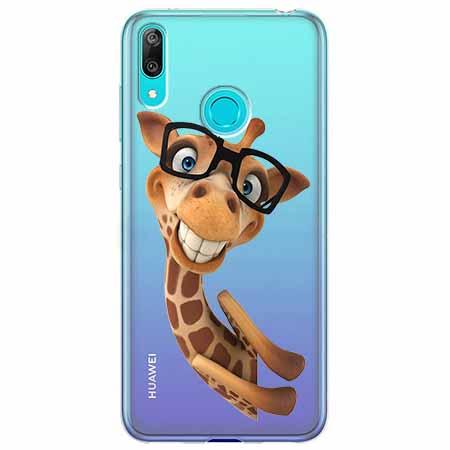 Etui na Huawei Y7 2019 - Żyrafa w okularach.