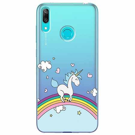 Etui na Huawei Y7 2019 - Jednorożec na tęczy.