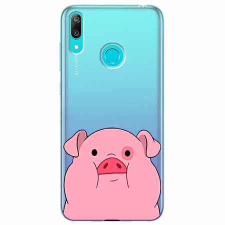 Etui na Huawei Y7 2019 - Słodka różowa świnka.