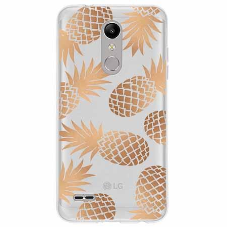 Etui na LG K11 - Złote ananasy.