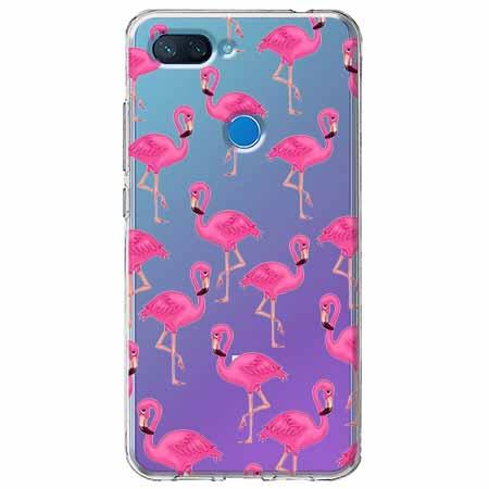 Etui na Xiaomi Mi 8 Lite - Różowe flamingi.