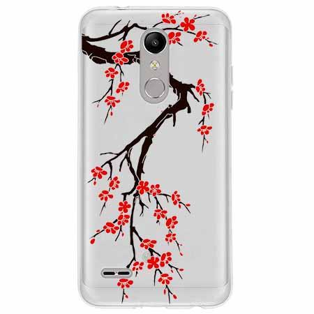 Etui na LG K10 2018 - Krzew kwitnącej wiśni.