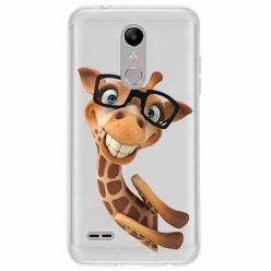 Etui na LG K10 2018 - Żyrafa w okularach.