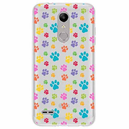 Etui na LG K10 2018 - Kolorowe psie łapki.