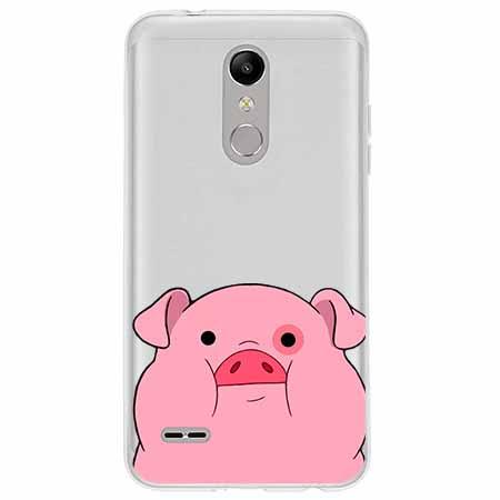 Etui na LG K10 2018 - Słodka różowa świnka.