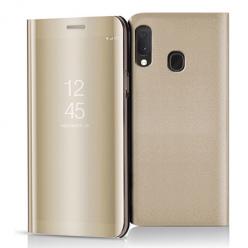 Etui na Samsung Galaxy A20e - Flip Clear View z klapką - Złoty.