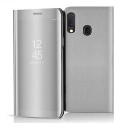 Etui na Samsung Galaxy A20e - Flip Clear View z klapką - Srebrny.
