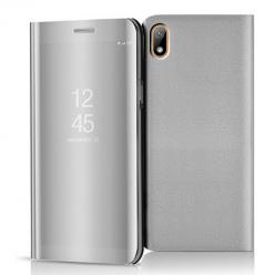 Etui na Huawei Y5 2019 - Flip Clear View z klapką - Srebrny.