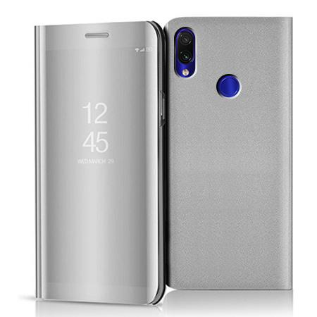 Etui na Xiaomi Redmi 7 - Flip Clear View z klapką - Srebrny.