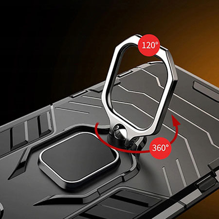 Etui na Huawei P30 Lite - Pancerne Magnet Ring - Czarny.