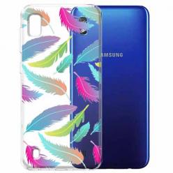 Etui na Samsung Galaxy A10 - Tęczowe piórka.