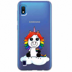 Etui na Samsung Galaxy A10 - Tęczowy jednorożec na chmurce.