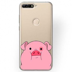 Etui na Huawei Y6 Prime 2018 - Słodka różowa świnka.