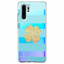 Etui na telefon Huawei P30 Pro - Złota czterolistna koniczyna.