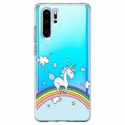 Etui na telefon Huawei P30 Pro - Jednorożec na tęczy.