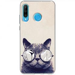 Etui na telefon Huawei P30 Lite - Kot w okularach