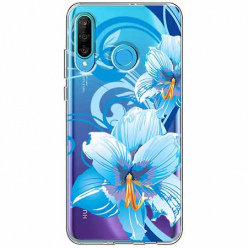 Etui na telefon Huawei P30 Lite - Niebieski kwiat północy.