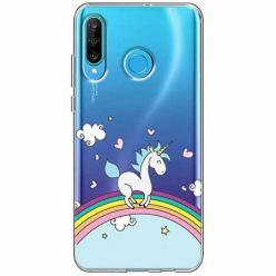 Etui na telefon Huawei P30 Lite - Jednorożec na tęczy.