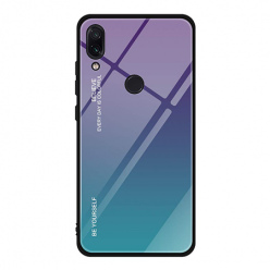 Etui na telefon Xiaomi Redmi 7 - Ombre Glass - Fioletowo/Morski.