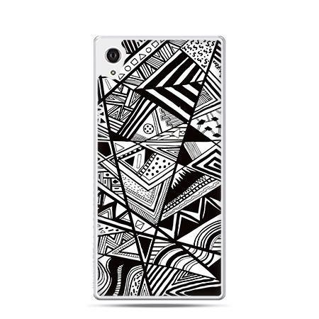 Trójkąty czarno białe etui z nadrukiem dla  Xperia Z2