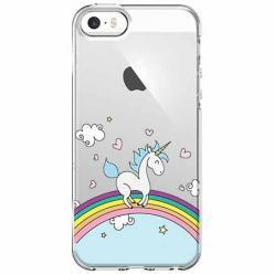 Etui na iPhone SE - Jednorożec na tęczy.