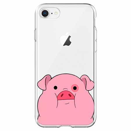Etui na telefon iPhone 8 - Słodka różowa świnka.