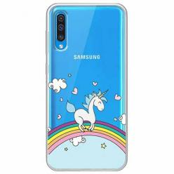 Etui na Samsung Galaxy A30s - Jednorożec na tęczy.