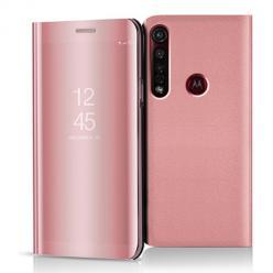 Etui na Motorola Moto G8 Plus - Flip Clear View z klapką - Różowy.